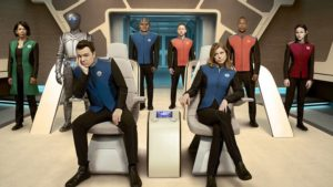 The Orville crew on the bridge.